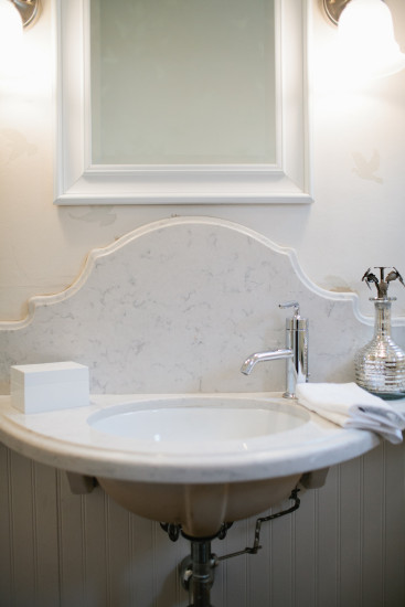 A custom vanity can significantly cut down on the space used.
