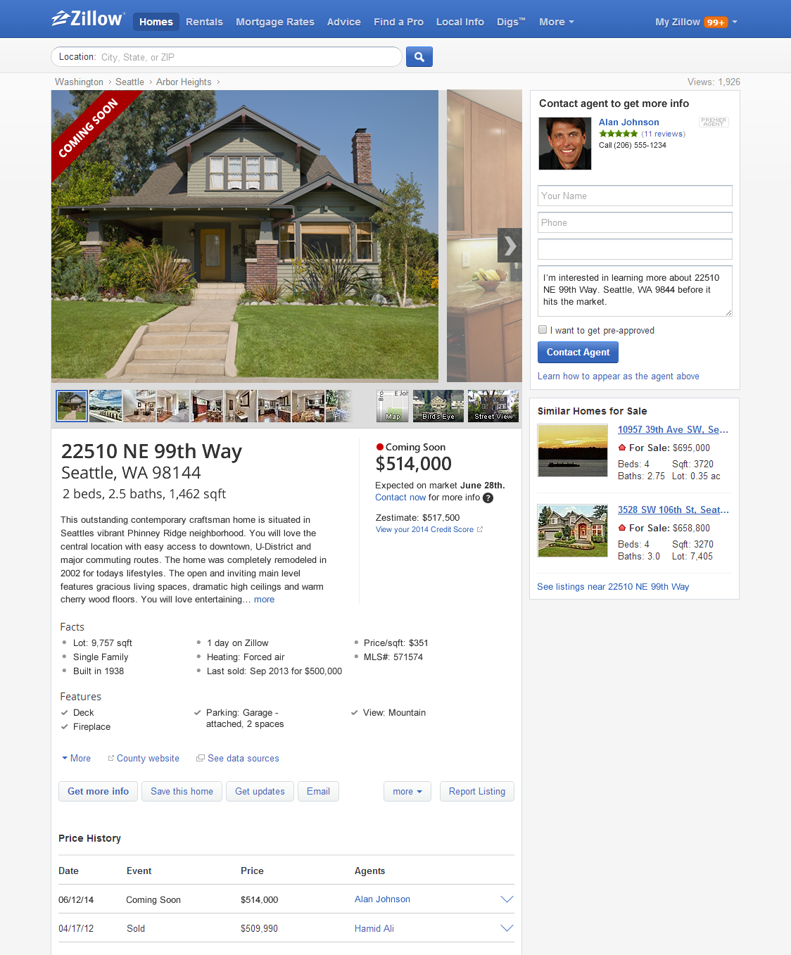 Zillow Rents: Zillow Launches Coming Soon: Search For And Find Homes