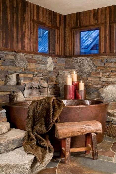 Bathroom with candles and fur blanket