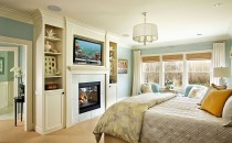 Serene bedroom design by Garrison Hullinger Interior Design.