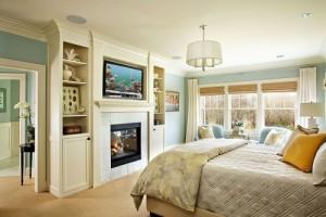 Serene bedroom design by Garrison Hullinger Interior Design.