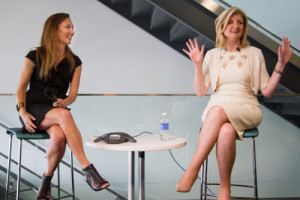 Zillow CMO Amy Bohutinsky (left) introduces Arianna Huffington, who shared about her latest book during a recent visit to Zillow's Seattle headquarters.