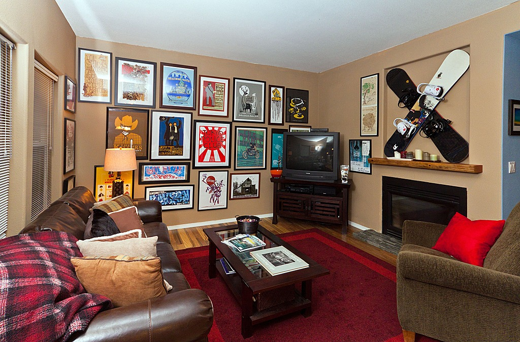 Lora Coburn added this gallery wall of framed comic book art to a client's game room.