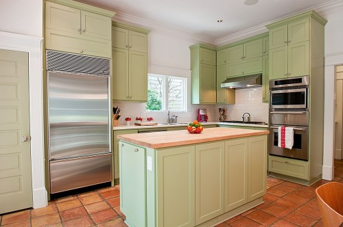 Kitchen - green cabinets
