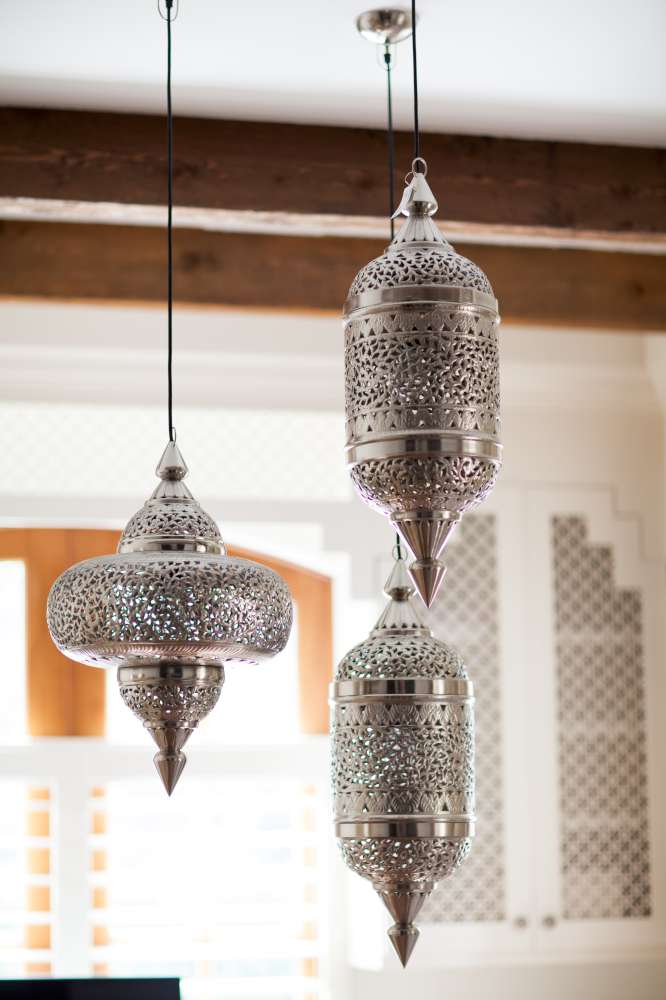 Hanging light pendants are an elegant addition to the office.
