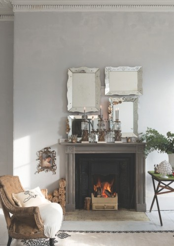 A collection of mirrors and candelabras add a festive vibe that will work for several seasons Source Mine H Design Consultant