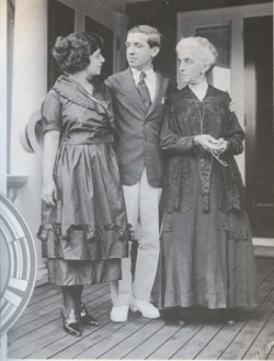 Charles Ponzi posing with his wife and mother on the porch of his newly acquired mansion. Courtesy Boston University Journalism Library