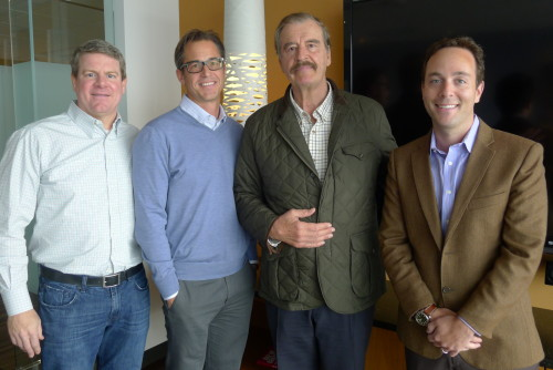 Former President of Mexico Vicente Fox with Zillow's co-founders and chief executive officer, Spencer Rascoff.