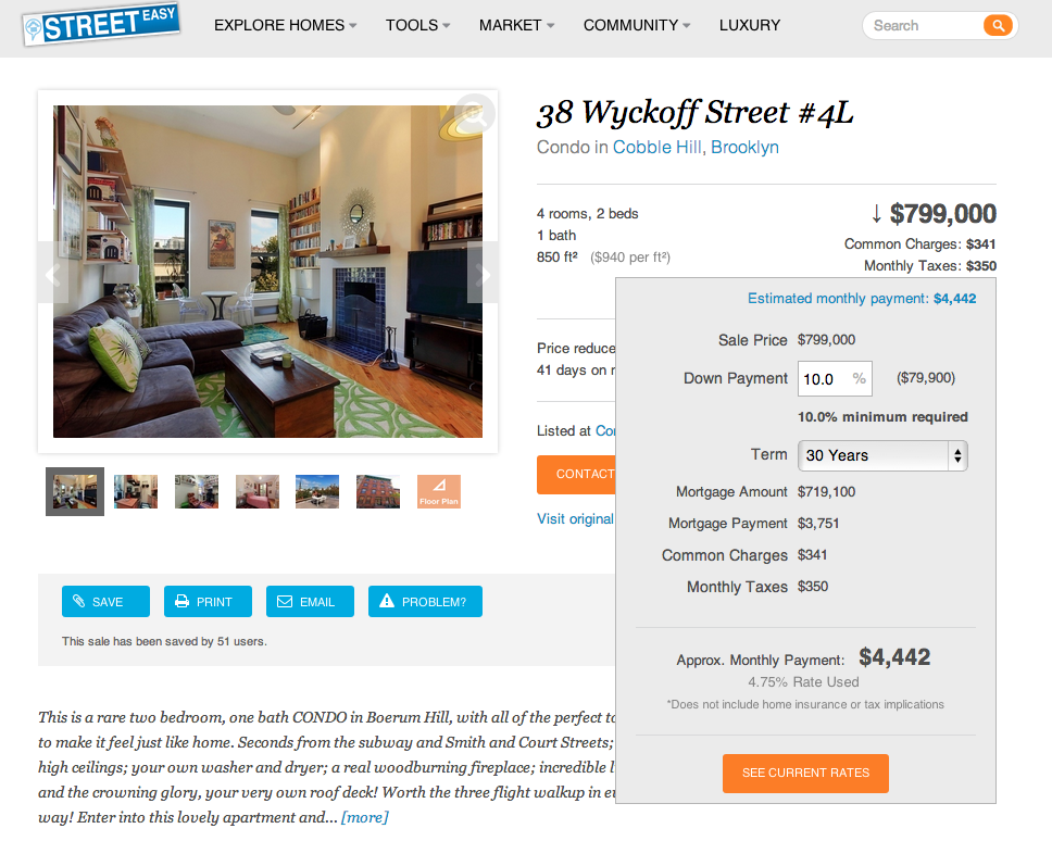 Streeteasy shoppers can now get real time mortgage rates for Call zillow