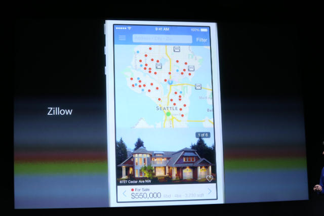 New Zillow Real Estate Apps for iOS 7 were featured during Apple's live event at their Cupertino Headquarters, Sept 10. Image courtesy of TechCrunch