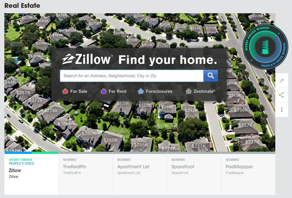 Zillow Sweeps Real Estate Category In 17th Annual Webby Awards Zillow Group