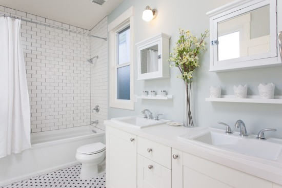 All white and simple tile create a soothing master bath.