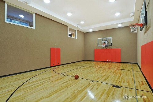 For sale homes equipped for yoga batting practice pli s for Indoor basketball court for sale