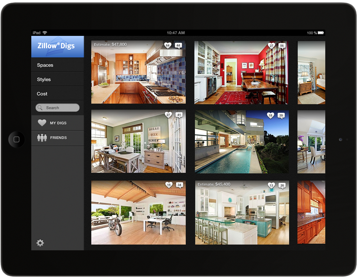 Zillow launches zillow digs a new home improvement Home interior design app