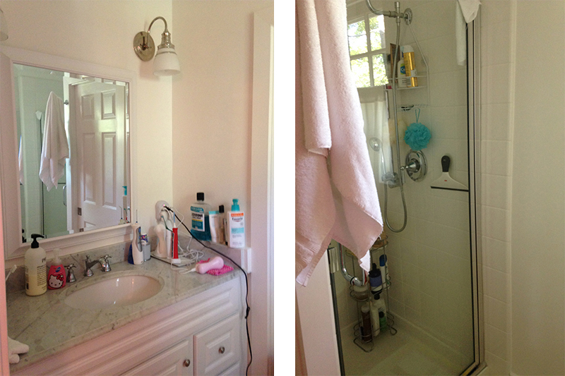 Before renovation: the vanity to the left; standing shower to the right.