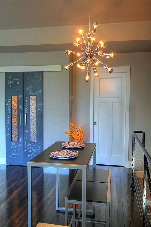 Write the menu or notes to guests on the doors to the dining room.