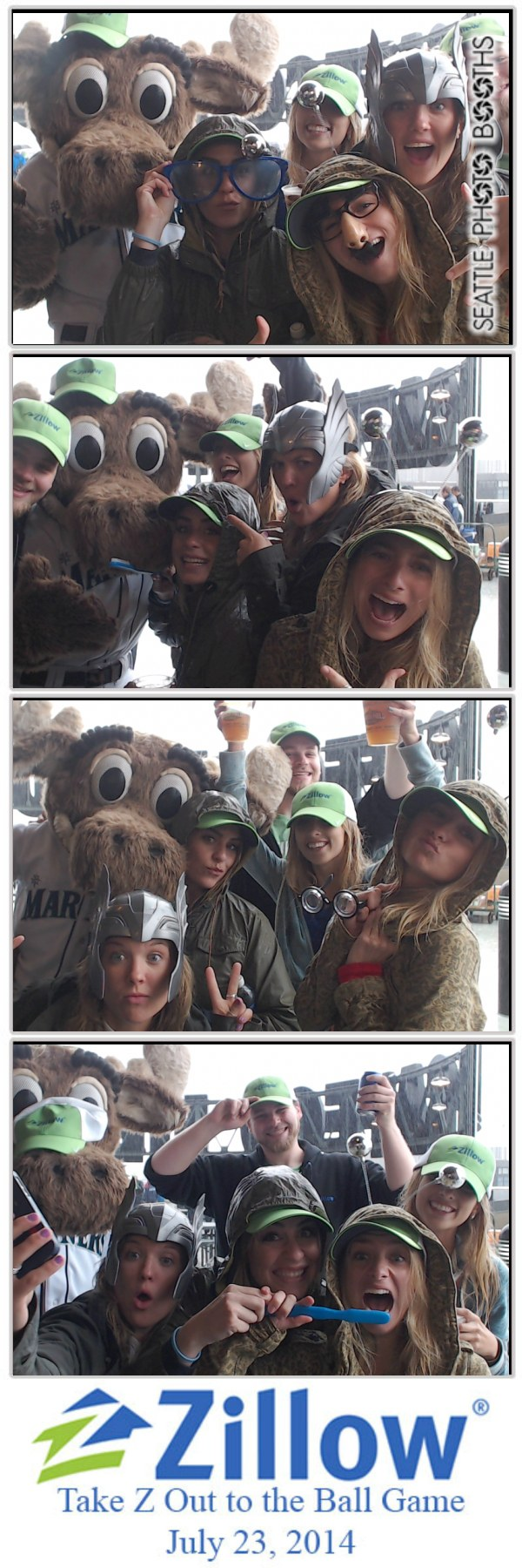 The Mariner Moose joins Zillow employees in the photo booth before the Mariners game.