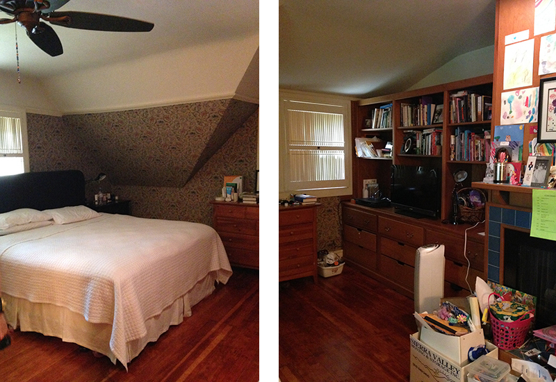 Before: tired floral wallpaper and an angled wall on the right; a dire need for additional storage space on the left.
