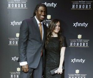 Robert Griffin III and his fiance Rebecca Liddicoat will be married in July. Source:  Reuters