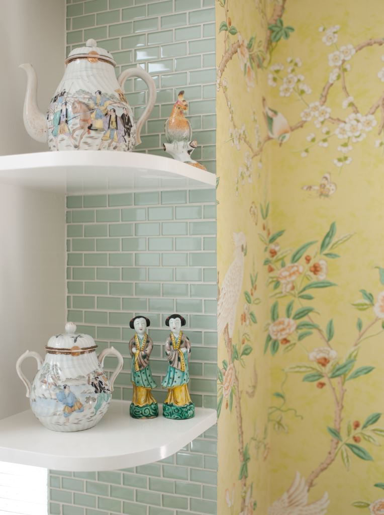Open shelving allows for pretty displays.