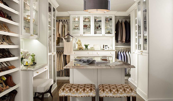 Notice The Variety Of Racks Rods And Shelving To Serve Every Possible Closet Purpose Built In Vanity Is Ideal For Her While Functional