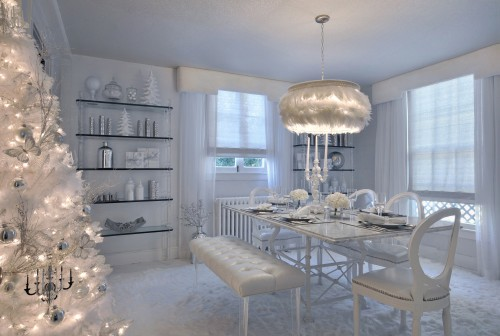 white holiday dining room