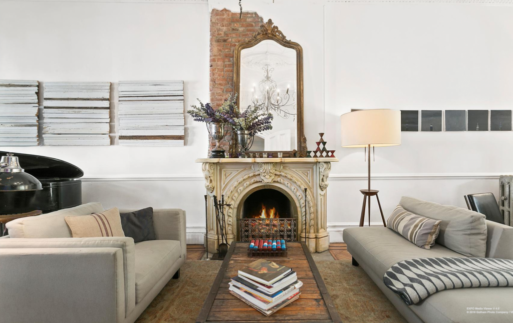 brownstone fireplace